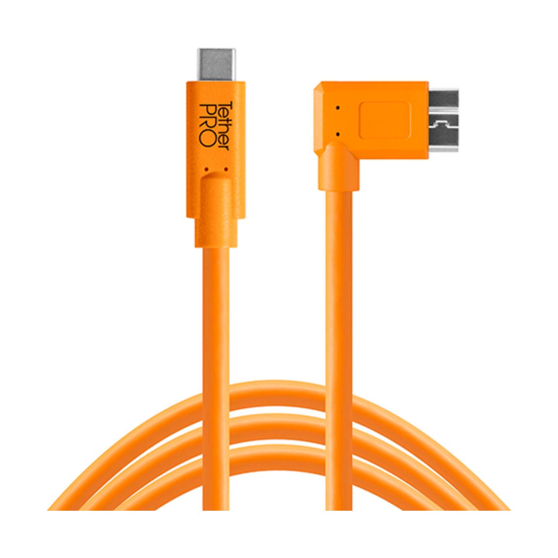 Tether Tools TetherPro USB-C Kabel - USB-C auf USB 3.0 Micro-B rechtwinklig : Orange